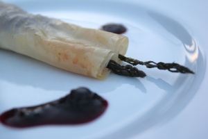 Blueberry Asparagus Pastry with Wisconsin goat cheese
