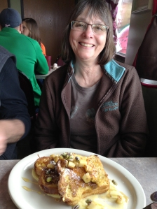 My momma with some outstanding rhubarb stuffed french toast! Happy Mother's Day!