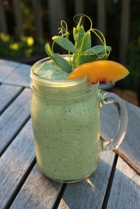 Pea shoot and peach smoothie
