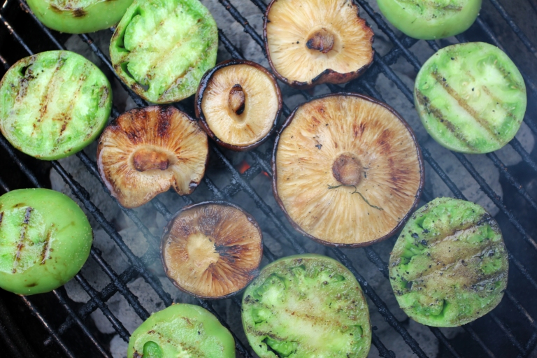 Grilled green tomatoes and shiitake mushrooms