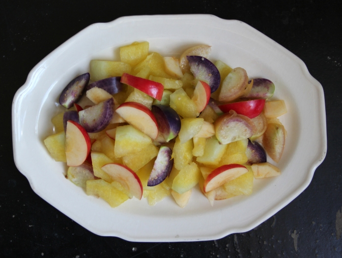 Tomatillo, watermelon, and apple salad